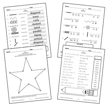 Line Worksheets Activity Crossword puzzle, Word Search, Matching Elementary Art