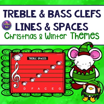 Line and Space Notes for Christmas and Winter: Treble and Bass Clefs
