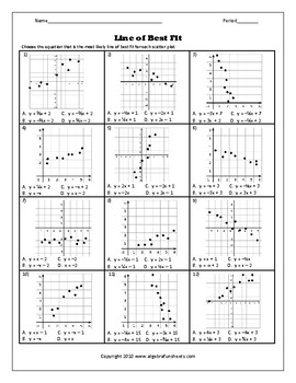 scatter plots and line of best fit worksheet 2 - Scatter Plots And Lines Of Best Fit Worksheet