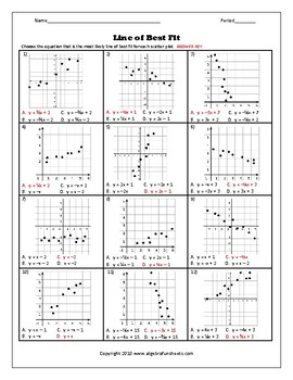 Scatter Plots and Line of Best Fit Worksheet 2