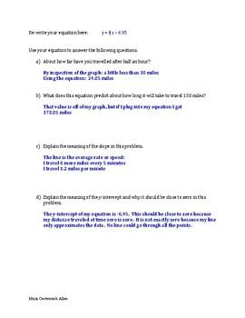 Line of Best Fit Worksheet