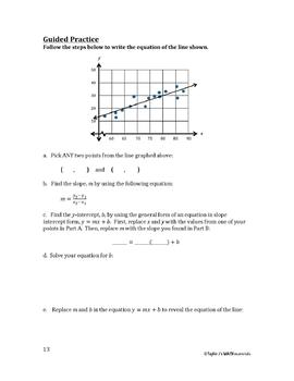 Line of Best Fit Worksheet by Taylor J's Math Materials   TpT