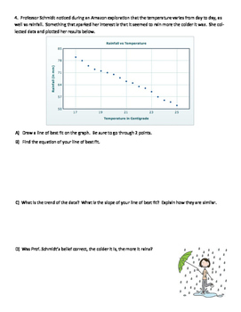 Line of Best Fit and Scatter Plot Assignment