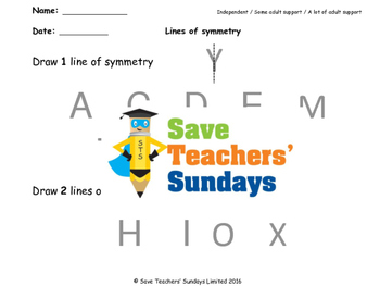 Line of symmetry (in letters) worksheets (3 levels of difficulty)