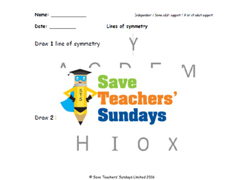 Line of symmetry (in letters) lesson plans, worksheets and more