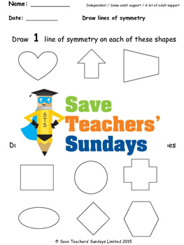Line of Symmetry Worksheets (3 levels of difficulty)