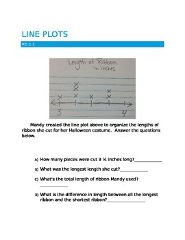 Line plots with fractions of a unit - MD.2.2 Common core 5th grade
