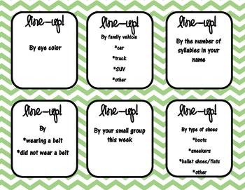 Line-up cards