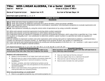 Linear Algebra Unit Plan-Sixth or Seventh Grade CC