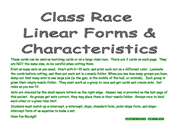 Linear Class Race - 8 sets of equations - PP