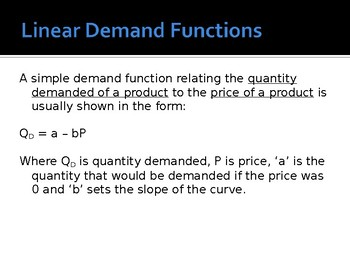 Linear Demand Functions Economics (10 slides, worked examples) High Quality PPT