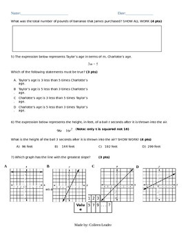 Linear Equation Assessment
