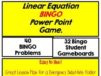 Linear Equation BINGO