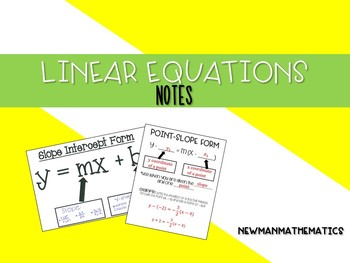 Linear Equation Forms Notes Bundle