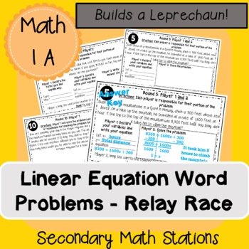 Linear Equation Forms Word Problems Relay Race