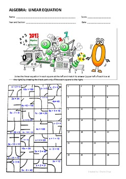 Linear Equation Fun Puzzle Activity