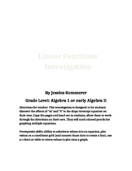 Linear Equation Graphing Investigation