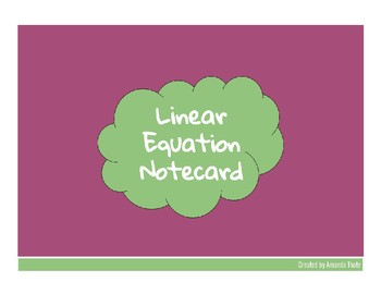 Linear Equation Notecard