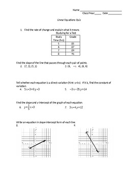 Linear Equation Quiz