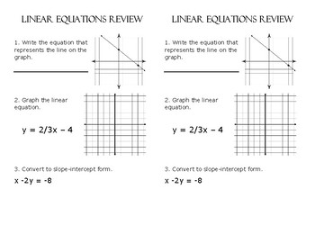 Linear Equation Review
