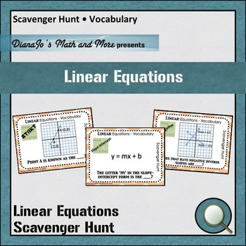 Linear Equation  Scavenger Hunt Vocabulary