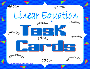 Linear Equation Task Cards - PP