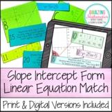 Linear Equation Card Match Activity - Slope Intercept Form - PDF & Digital