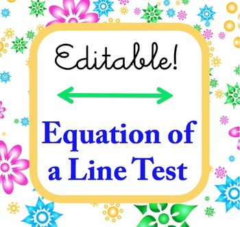 Linear Equation Test - Editable