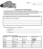 Thanksgiving Math: Linear Equation Thanksgiving Dinner Project for Algebra 1