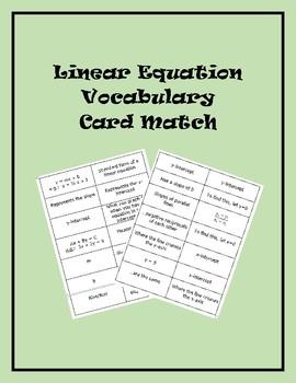Linear Equation Vocabulary Card Match