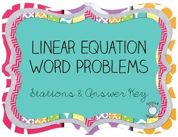 Linear Equation Word Problem Stations