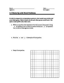 Linear Equation Word Problem Warm Up (2 variables)