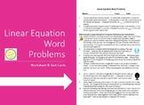 Linear Equation Word Problems worksheet & task cards - sim