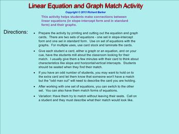 Linear Equation and Graph Matching Activity 8.F.B.4