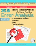 Error Analysis: SLOPE-INTERCEPT form of a linear equation