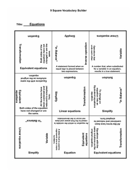 Linear Equations 9 Square