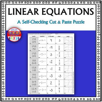 Linear Equations: A Cut & Paste Activity