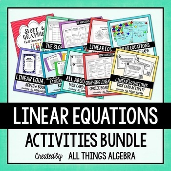 Linear Equations Activities Bundle