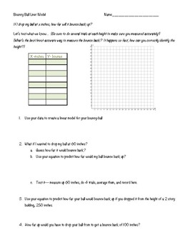 Linear Equations Activity-- Bouncy Ball Model