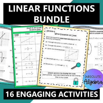 Linear Functions Bundle including Slope and Graphing Activities