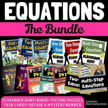 Equations BUNDLE {Solving One Step, Two Step, and Multi-Step Equations}