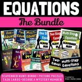 Equations BUNDLE {Solving One Step, Two Step, and Multi-St
