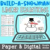Linear Equations Build A Snowman Winter Activity | PAPER &