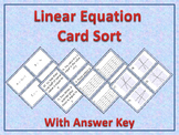 Linear Equations Card Sort Activity