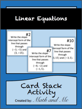 Linear Equations Card Stack Activity