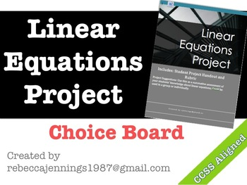 Linear Equations Choice Board Project