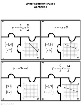 Linear Equations Cut Out Puzzle