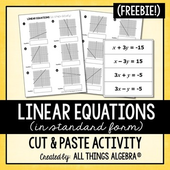 Linear Equations Cut and Paste Activity by All Things ...