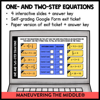 Linear Equations - Digital Math Activities for Google Slides (Distance Learning)