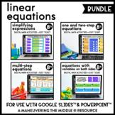 Linear Equations Digital Math Activity Bundle | 8th Grade